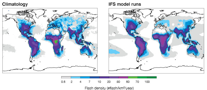 Annual mean lightning  ash densities