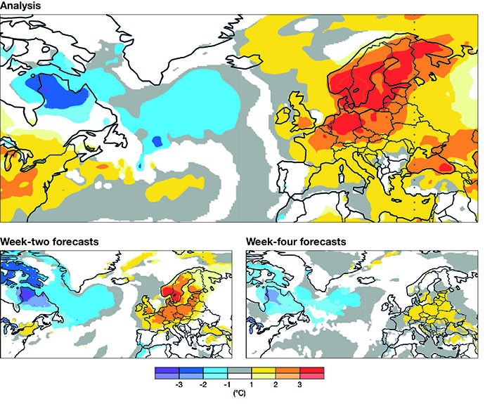 Analysis and forecasts of 2-metre temperature anomalies