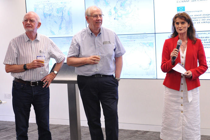 Austin Woods, Adrian Simmons and Florence Rabier marking 40 years of operational forecasting