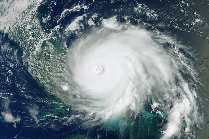 Copernicus Sentinel-3 image of Hurricane Dorian as it pummels the Bahamas on 2 September 2019. © contains modified Copernicus Sentinel data (2019), processed by ESA.